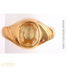 22 Karat Gold Men's Ring with Yellow Sapphire - 235-GGR111 - Buy this Latest Indian Gold Jewelry Design in 8.000 Grams for a low price of  $1,639.99