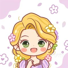 Chibi Disney, Kawaii Disney, Kawaii Anime, Disney Princess Art, Disney Rapunzel, Disney Fan Art, Cute Disney Drawings, Kawaii Drawings, Cute Drawings