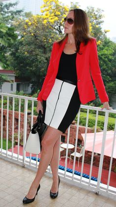 black, white and leather pencil skirt  amyswalkinwardrobe.com