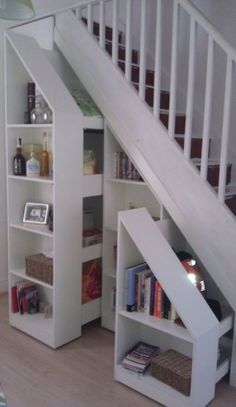 Storage in 2019 stair storage, under stairs, staircase remodel. Cupboard Storage, Staircase Bookshelf, Basement Remodeling, Small Spaces, Staircase Design, Home Remodeling, Home, Staircase Storage, Stair Decor