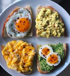 Celebrating the day with avocado + egg toast 4 ways! Which one is your favorite: 3 or De - Health and Nutrition Healthy Snacks, Healthy Eating, Healthy Recipes, Lunch Recipes, Summer Recipes, Fall Recipes, Healthy Junk, Dinner Recipes, Healthy Heart