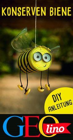 Konserven mit Blechdosen: die Bienendose - # bee # tin cans # . Konserven mit Blechdosen: die Bienendose – # bee # tin cans # … – Aluminum Can Crafts, Tin Can Crafts, Bee Crafts, Garden Crafts, Diy Garden Decor, Preschool Crafts, Aluminum Cans, Tin Can Animals, Diy For Kids