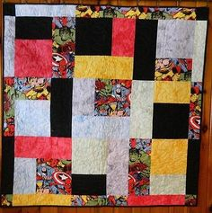 AVENGERS Completed Finished Quilt Hand Dyed Fabrics, Throw Quilt, Spiderman