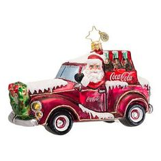Christopher Radko Glass Coca-Cola Coke Cruiser with Santa Christmas Ornament - Officially licensed