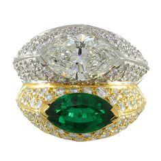 Hermann Brothers Bold Rings, Simple Rings, Emerald Diamond, Diamond Rings, Green Gemstones, Three Stone Rings, Gemstone Jewelry, Lotus Jewelry, My New Room