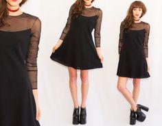 90s Black Mesh long sleeve Skater Mini Dress  /  long by Idlized