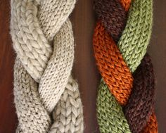 Twisted Roots knitted scarf.  Three different yarn weights, or three different colors braided then finished together?  Intriguing pattern