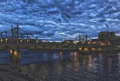 Twilight Crossing - view of the Free Bridge over the Delaware River, connecting Easton, PA and Phillipsburg, NJ