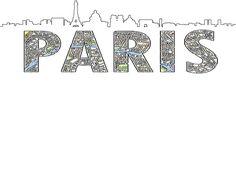Silueta de skyline y Mapa de Paris