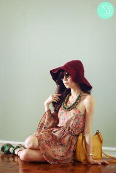 Closet Goddess dress, Island Girl necklace, WAGW hat and sunnies, H heels