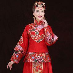 ShiDaiXinNiang-15298A Floral brocade red satin Chinese XiuHe long sleeve traditional bridal wedding dress 001
