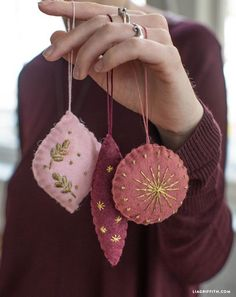 Embroidered Felt Ornaments - Lia Griffith embroidered felt christmas ornaments<br> Fall in love with felt! Our embroidered felt ornaments are a must-craft for any serious ornament-er this holiday season. Diy Felt Christmas Tree, Felt Christmas Decorations, Noel Christmas, Elegant Christmas, Hallmark Christmas, Christmas Music, Christmas Vacation, Homemade Christmas Tree Decorations, Homemade Ornaments