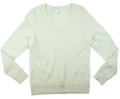 14e796f8714a6 CHARTER CLUB Size L 100% Cashmere Ivory V-Neck Cable Knit Sweater   CharterClub