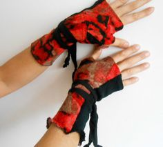Red Black Gloves, Red Black Mittens , Moher Red Gloves, Hippie Gloves, Boho Gloves, Women's Fashion, Feminine Gloves, Red Black Gloves