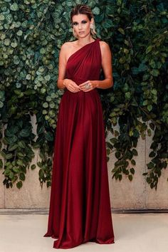 Evening dresses vintage - Sexy Burgundy One Shouder A Line Evening Dress, Vintage Formal Long Prom Dress CR 668 – Evening dresses vintage Elegant Dresses, Sexy Dresses, Vintage Dresses, Beautiful Dresses, Fashion Dresses, Prom Dresses, Long Dresses, Dress Prom, Summer Dresses