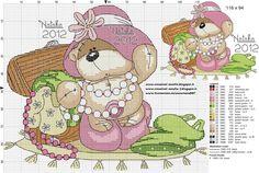 Bear playing dress you cross stitch