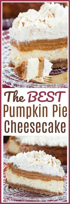 This is THE BEST Pumpkin Pie Cheesecake recipe! In fact, it's the only pumpkin pie cheesecake recipe you'll ever need! We have a few extra sneaky tips we mention to make sure your pumpkin pie cheesecake is the best your family and guests have ever put in their mouths!