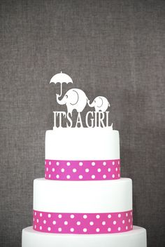Elephant Cake Topper - It's A Girl Cake Topper by Chicago Factory