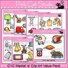 This is a huge value packed collection of 40 unique CVC medial a clip art designs. The possibilities are endless for what you can create with these images! This product is a bundled set of our 6 medial a CVC Rhyming Words Clip Art Sets plus 5 extra designs.The designs are:-am: dam, jam, ram, ham, yam-ag: bag, nag, rag, gag, tag, wag-ap: sap, gap, map, cap, tap, nap-ad: dad, lad, sad, mad, pad, bad-an: can, fan, man, van, pan, tan-at: cat, rat, hat, mat, fat, bat-ar: car, jar, bar, far-ab…