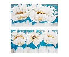 Set de 2 lienzos pintados a mano Flores II - 120x60 cm