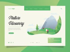 Project Landing Page Nature Discovery by Ahmad Ihsan Web Design Examples, Flat Web Design, Web Layout, Layout Design, Landing Page Best Practices, Leaflet Design, Publication Design, Ui Web, Graphic Design Print