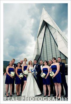 air force academy chapel wedding usafa military wedding party portrait outside blue bridesmaid dresses colorado springs photographer