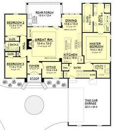 European Style House Plan - 3 Beds 2 Baths 1870 Sq/Ft Plan #430-107 Floor Plan - Main Floor Plan - Houseplans.com