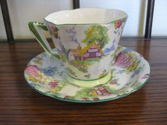 Vintage Royal Albert Crown China Cup & Saucer Set Lady Gay Pattern  #RoyalAlbert