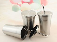 2016 New Fashion Smoothie Iced Coffee Juice Mug Stainless steel Drink Cup With Straw Party Liquid Beaker Lid milky tea mug