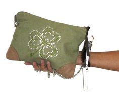 Irish SHAMROCK Green Leather Clutch Bag Coin Purse Set Celtic   gmaloudesigns - Bags & Purses on ArtFire