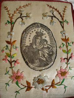 Gran Escapulario de seda Bordado Virgen del Carmen sXIX (Antigüedades - Religiosas - Ornamentos Antiguos)
