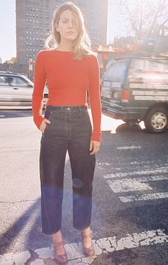 Street style: Bright red bodysuit and relaxed fit jeans