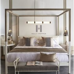 Shop the Kelly Hoppen Upholstered Canopy Bed at Perigold, home to the design world's best furnishings for every style and space. Twin Canopy Bed, Wood Canopy Bed, Canopy Bedroom, Master Bedroom, Modern Canopy Bed, Master Suite, Solid Wood Platform Bed, Upholstered Platform Bed, Decoration Bedroom