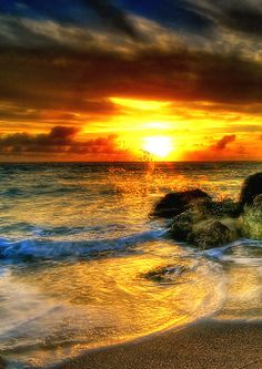 Blazing Sunrise- #sunrise, #beach, #water, #hdr, #clouds, If you would like to buy a print, follow the link for Fine Art America.