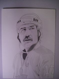 Commission of hockey player Wendel Clark. Pencil 9x14-Brad Joyce