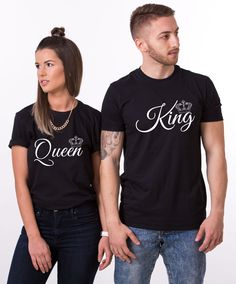 King Queen Crowns, Matching Couples Shirts. Royal king and queen couples shirts to match your personality! Get yours now!