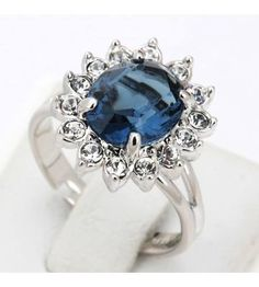 Ocean Blue Ring Platinum Plated For Her