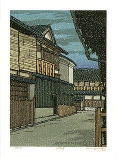 Katsuyuki Nishijima: Snow in Gion (late 20th c.)