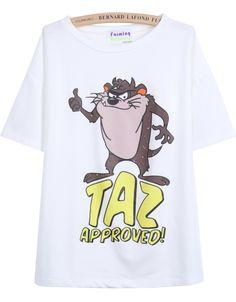 White Short Sleeve Cartoon Dog Print T-Shirt EUR€12.94