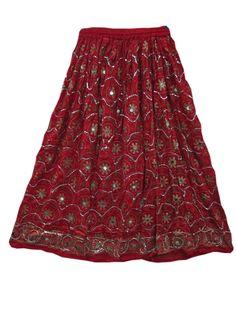 "Sequin Long Skirt Trendy Hand Work Rayon Skirt 36"""