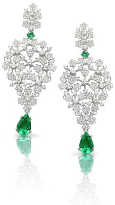 FineJewelry collection in 18K white gold set with 2 #PearCut - Emerald (3.62 cts), 2 emeralds and 400 RoundCut - Diamonds (4.68 cts)