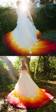 elegant ombre lace up wedding dresses, dream wedding dress with appliques, affordable court train bridal gowns Dip Dye Wedding Dress, Rainbow Wedding Dress, Colored Wedding Dresses, Tulle Wedding, Dream Wedding Dresses, Wedding Gowns, Bridal Gowns, Pretty Prom Dresses, Beautiful Dresses