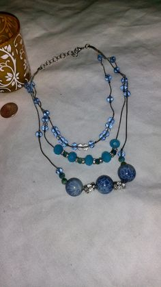 Tri-level chains of Blue by PleinDesign on Etsy