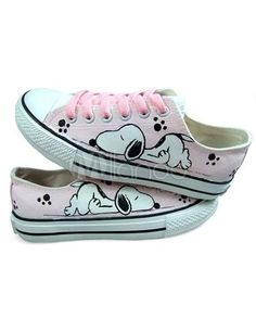 8f217fa0ae Tween girls shoe  hand-painted snoopy on pink canvas flats.