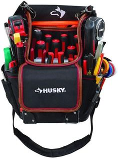 Husky 3-Pocket Hand Tool Pouch Tool Storage Organizer Bag Leather Lined Pockets #Husky