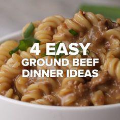 4 Easy Ground Beef Dinner Ideas // #dinner #beef #recipes #noodles #Tasty #food