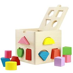 Babrit 13 Holes Intelligence Shape Sorter Cognitive and Matching Wooden Geometric Shape Sorting Box ** You can find more details at