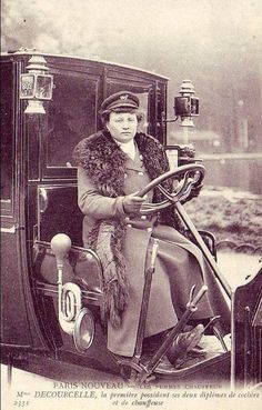 Mme Decourcelle, first female taxi driver in Paris, 1909.