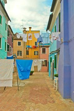 Laundry in a backyard on the island of Burano - Italy