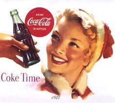 Detail Of Coca-Cola Coke Time 1955 - Mad Men Art: The Vintage Advertisement Art Collection Pepsi Ad, Coca Cola Ad, World Of Coca Cola, Coca Cola Bottles, Vintage Coca Cola, Vintage Advertisements, Vintage Ads, Vintage Posters, Retro Ads